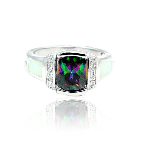1.50 Carat Emerald Cut Mystic Rainbow Topaz Round Clear CZ Accent Lab White Opal Solid 925 Sterling Silver Wedding Engagement Ring Heart