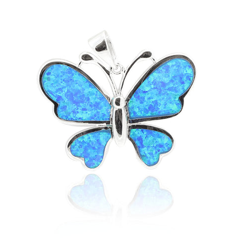 23mm Butterfly Pendant Solid 925 Sterling Silver Lab Created Fire Blue Opal Butterfly Charm for Necklace Nature Gift  Butterfly Jewelry - Blue Apple Jewelry
