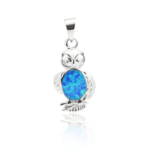 "1"" Owl pendant Lab Blue Opal Inlay Solid 925 Sterling Silver Cute Owl Charm Owl Jewelry Owl Lovers Owl Good Luck Gift - Blue Apple Jewelry"