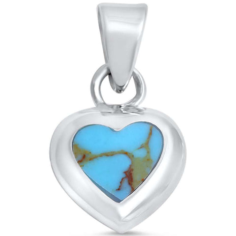 "0.75"" Heart Pendant Heart Charm Blue Turquoise Inlay Heart Shape Pendant Necklace Solid 925 Sterling Silver Turquoise Heart Pendant - Blue Apple Jewelry"
