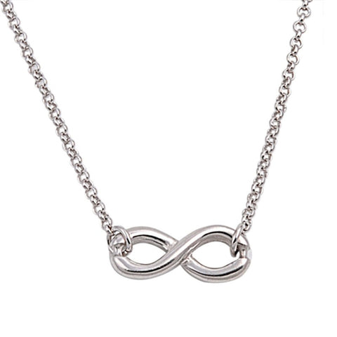 Infinity Necklace Twisted Knot Crisscross Crossover Sterling Silver Plain Pendant Necklace Infinity Necklace Pendant Eternity Infinity Love - Blue Apple Jewelry