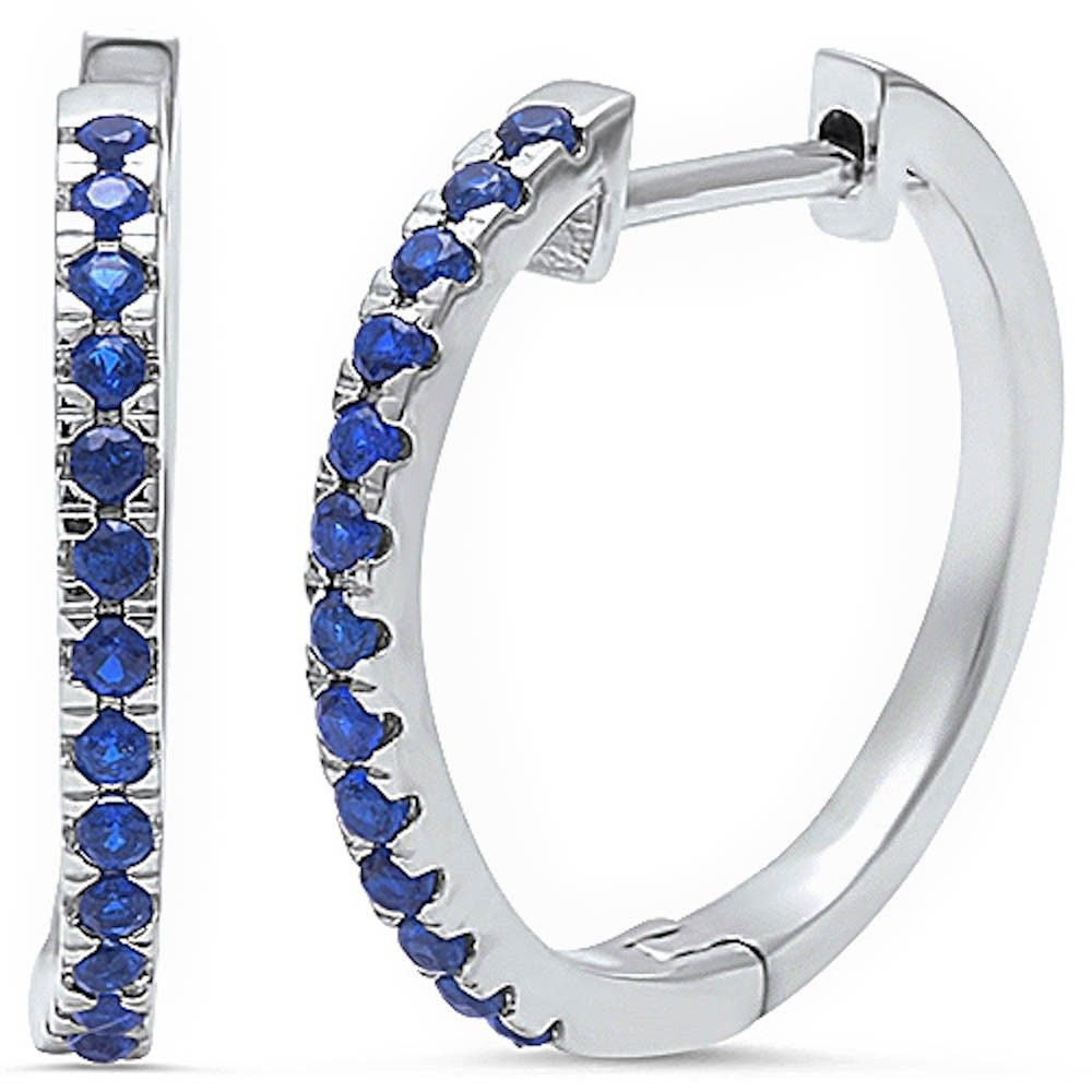 New Design 20mm Full Hoop Earrings Solid 925 Sterling Silver Round Deep Blue Sapphire CZ Eternity Hoop Earring September Stone - Blue Apple Jewelry