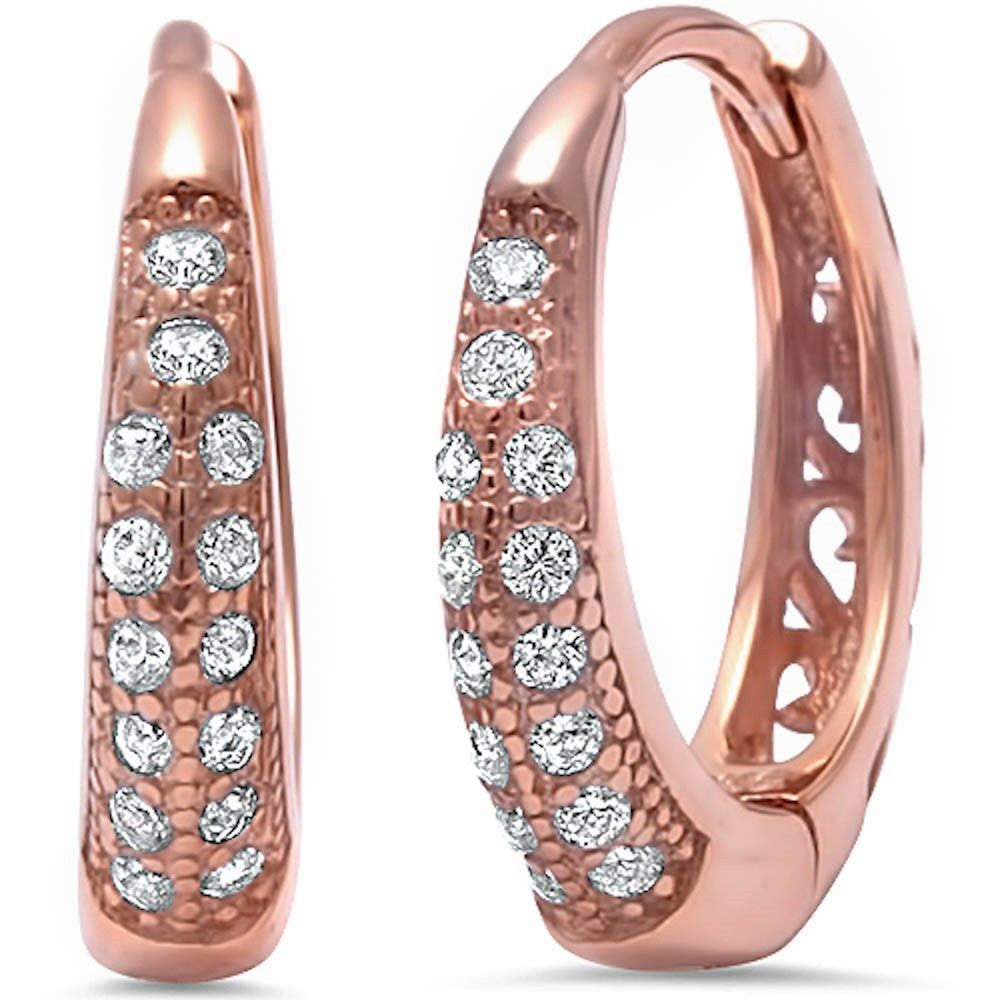 Double Row 14mm Hoop Huggies Earrings Pink Rose Gold Solid 925 Sterling Silver Round Clear Diamond CZ Half Eternity Huggies April Stone - Blue Apple Jewelry