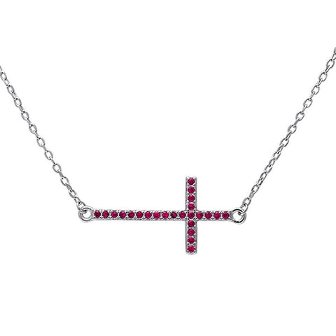 "Sideways Cross 18"" Necklace Solid 925 Sterling Silver Round Red Ruby July Stone 16""+2"" Extension - Blue Apple Jewelry"