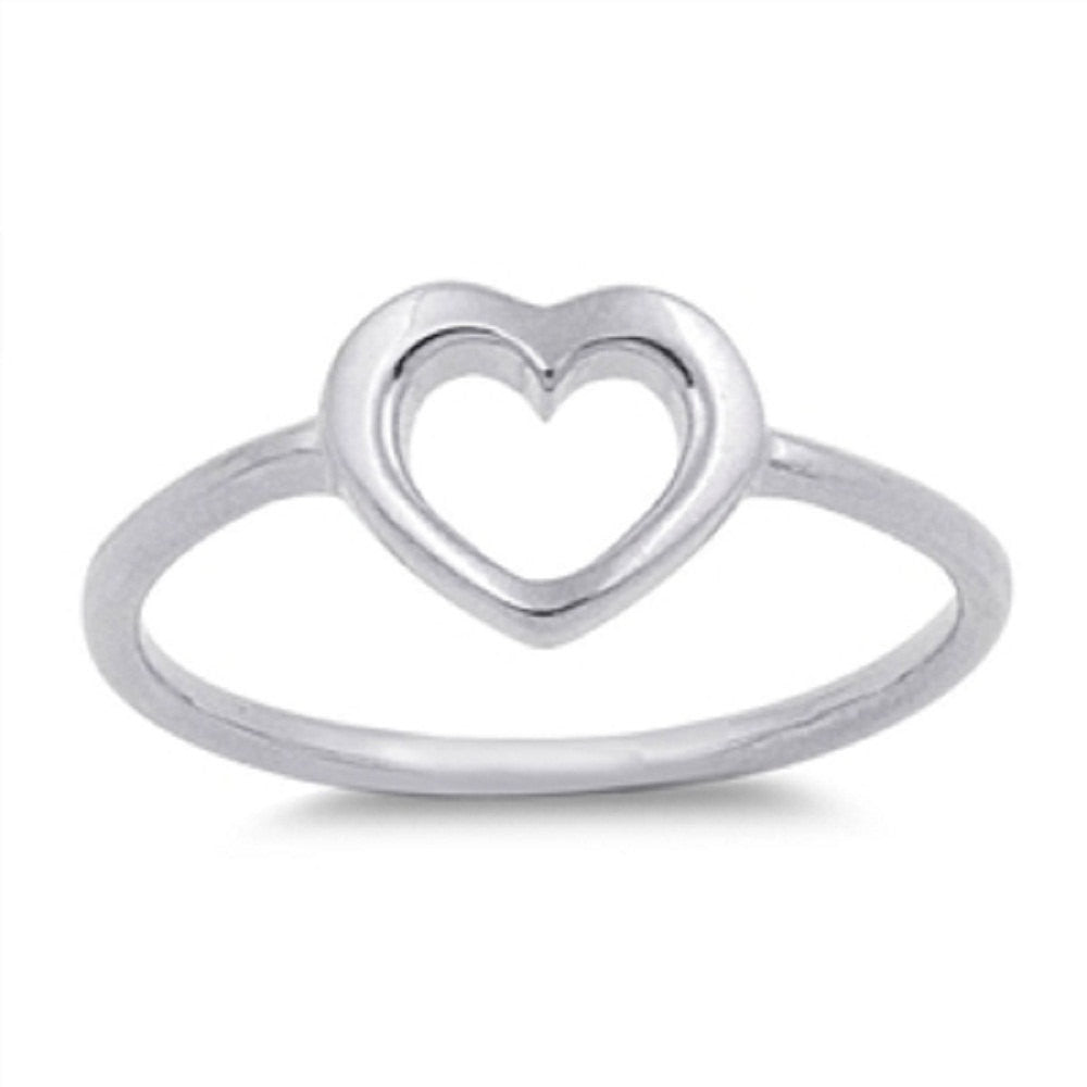 Cute Baby Ring Open Heart Solid 925 Sterling Silver Simple Plain Heart Ring Excellent Good Luck For Baby Girl Lady Cute Jewelry Gift - Blue Apple Jewelry