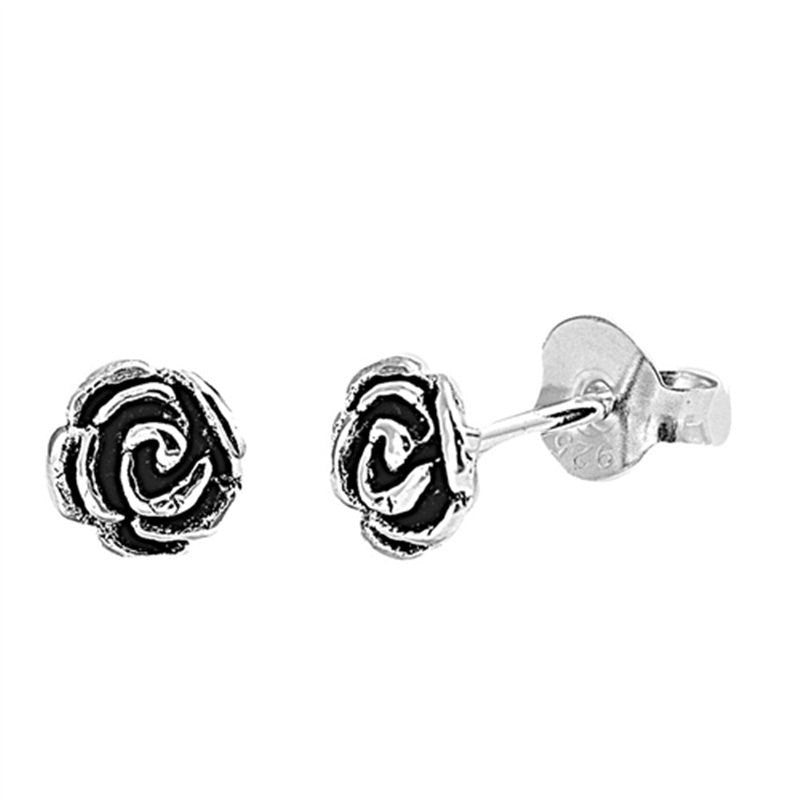 Simple Petite 5mm Small Tiny Cute Pair of Rose Stud Post Earrings Solid 925 Sterling Silver