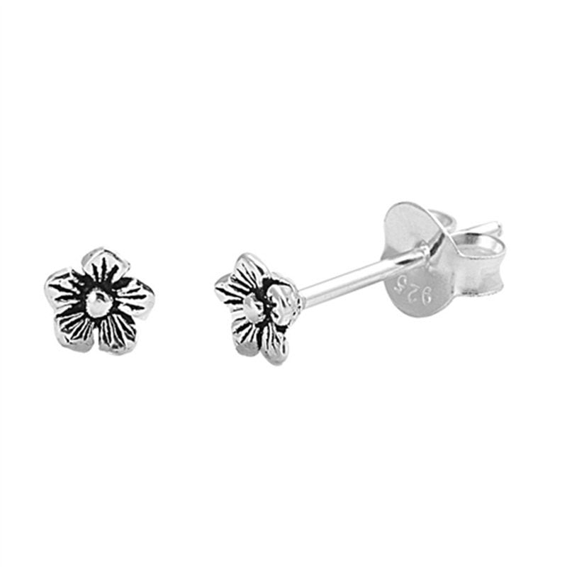 Simple Petite 4mm Small Tiny Cute Pair of Flower Stud Post Earrings Solid 925 Sterling Silver Flower Earrings Cartilage Piercing Kids Gift