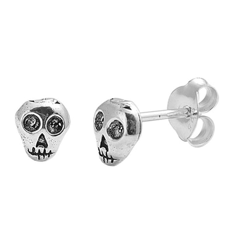 Simple Petite 5mm Small Tiny Cute Pair of Skull Charm Stud Post Earrings Solid 925 Sterling Silver Earrings Cartilage Piercing Kids Gift