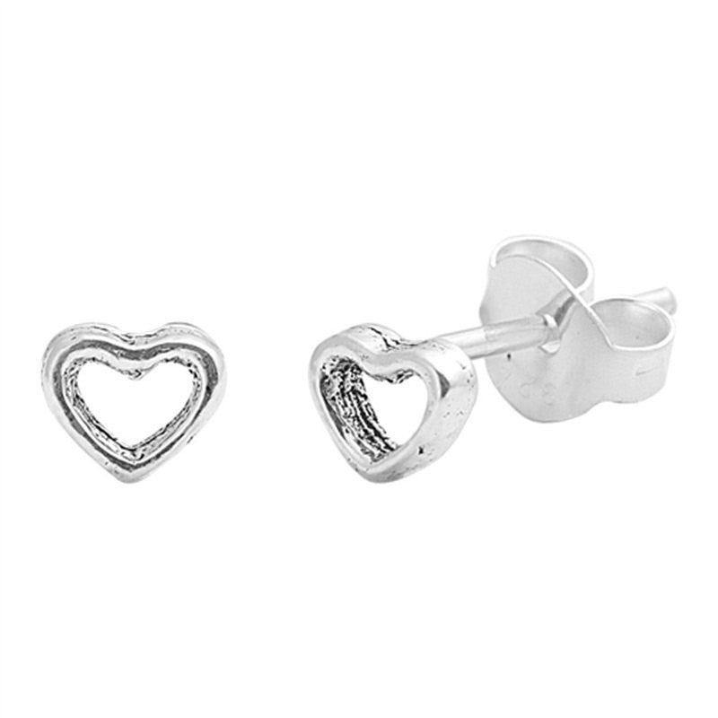Simple Petite 5mm Small Tiny Cute Pair of Open Heart Stud Post Earrings Solid 925 Sterling Silver Earrings Cartilage Piercing Kids Gift