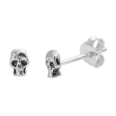 Simple Petite 4mm Small Tiny Cute Pair of Skull Charm Stud Post Earrings Solid 925 Sterling Silver Earrings Cartilage Piercing Kids Gift