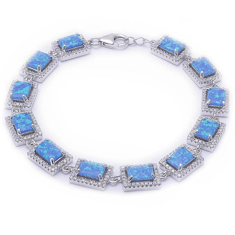 "7.5"" Tennis Bracelet Halo Bracelet Emerald Cut Radiant Cut Lab Blue Opal Round Clear White CZ 925 Sterling Silver Halo Bracelet Bridal - Blue Apple Jewelry"