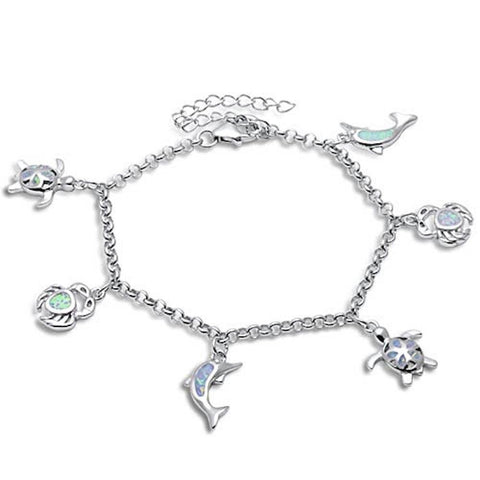 "Dangling Dolphin Turtle Plumeria Crab 9"" Bracelet Solid 925 Sterling Silver Dangling Charm Lab White Opal - Blue Apple Jewelry"