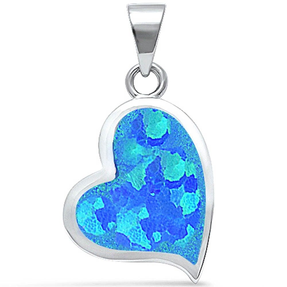 Heart Pendant Lab Blue Opal Heart Shape Charm solid 925 Sterling Silver Valentines Gift,  - Blue Apple Jewelry