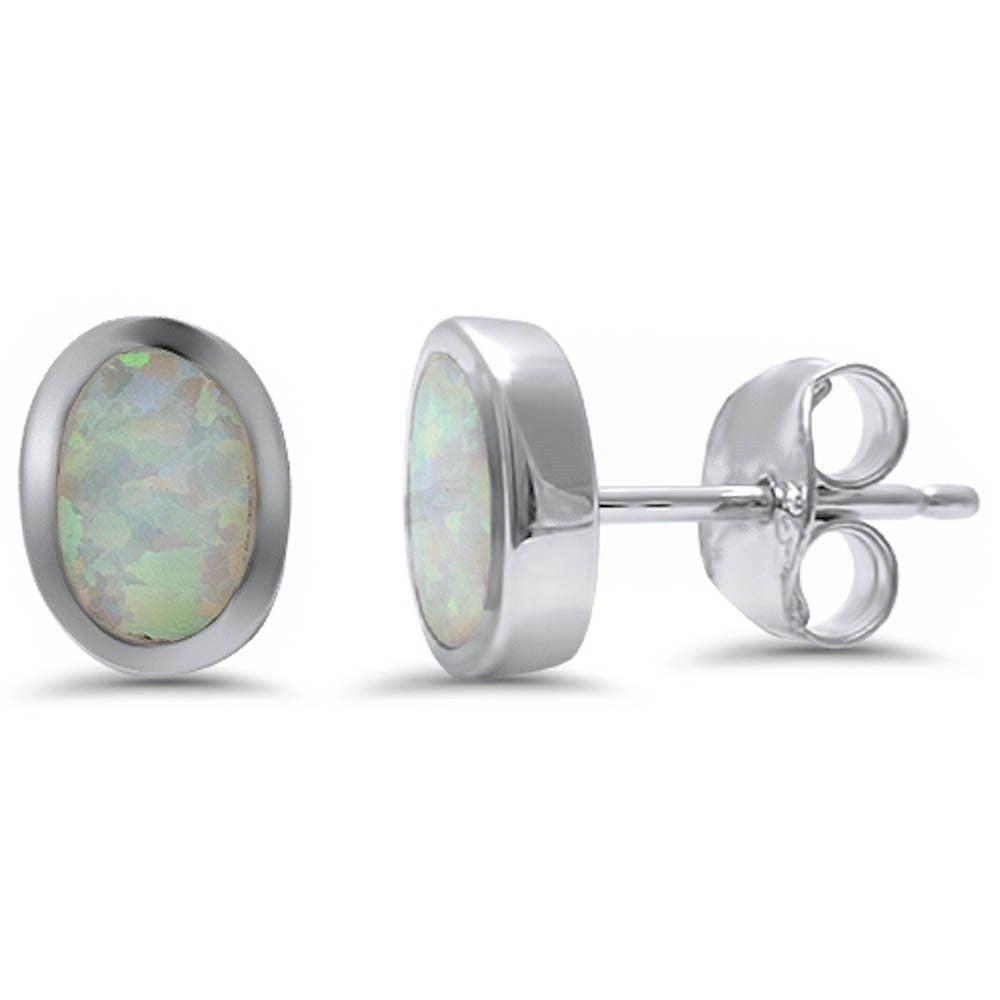 Oval Earring Lab White Opal Solid 925 Sterling Silver - Blue Apple Jewelry