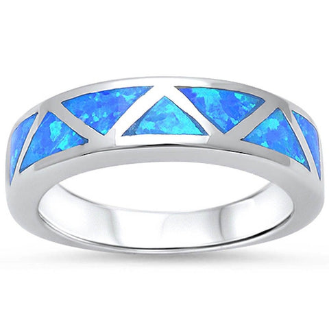 5mm Half Eternity Solid 925 Sterling Silver Lab Created Blue Opal Inlay Ladies Wedding Engagement Anniversary Band Ring Excellent Gift - Blue Apple Jewelry