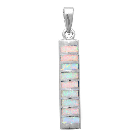 "1.2"" Bar Pendant New Trend Fashion Solid 925 Sterling Silver Lab White Opal Bar Charm Pendant For Necklace - Blue Apple Jewelry"
