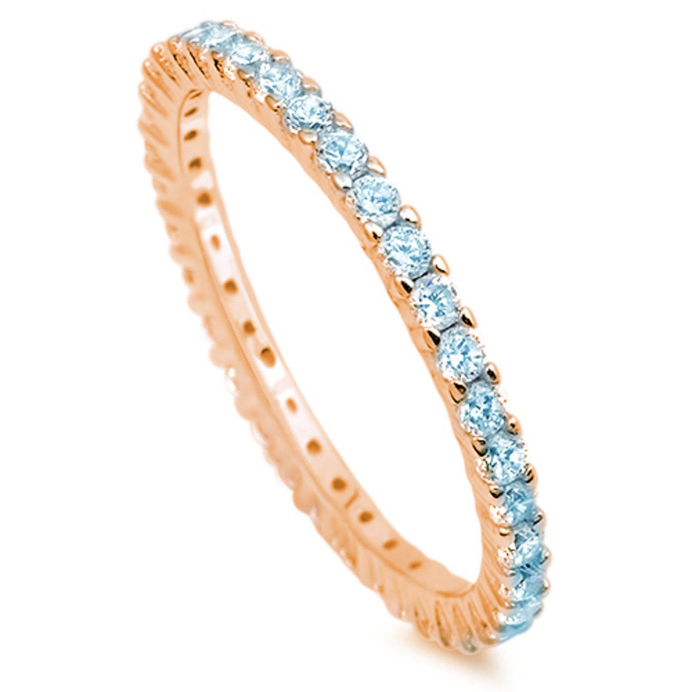 2mm Stackable Band Rose Gold 925 Sterling Silver Round Blue Aquamarine CZ Full Eternity Stackable Wedding Engagement Anniversary Ring 5-10 - Blue Apple Jewelry