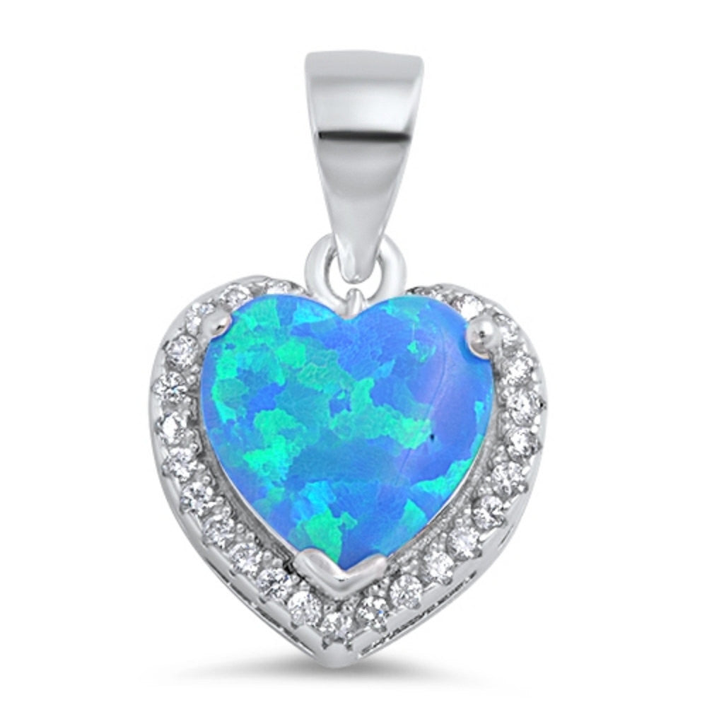 Fashion Halo Pendant Heart Pendant Solid 925 Sterling Silver Heart Shape Lab Blue Opal Round Clear CZ Blue Opal Heart Pendant Gift - Blue Apple Jewelry