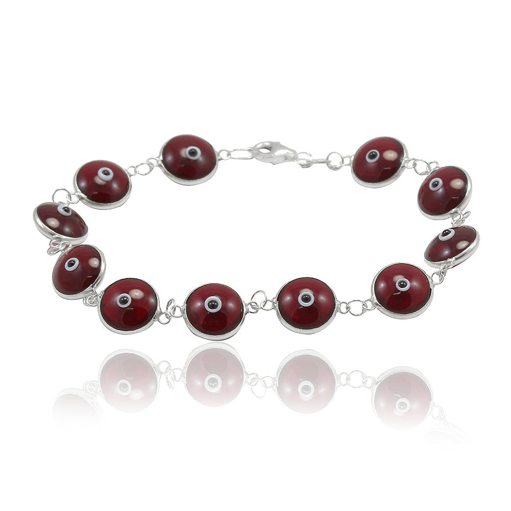 "Unisex Trendy 10mm Bead Deep Red burgundy 7"" Bracelet Solid 925 Sterling Silver Round Evil Eye Deep Red Evil Eye Jewelry Gift - Blue Apple Jewelry"
