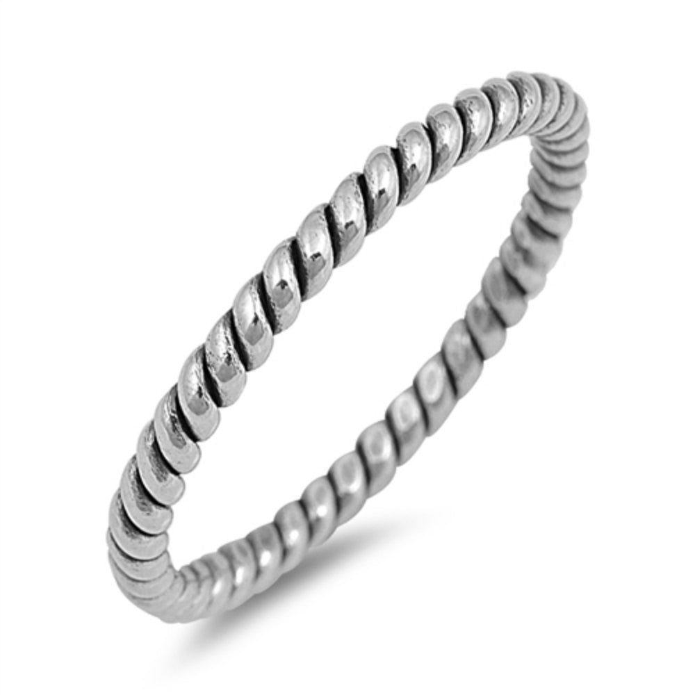 2mm Twisted Rope Braided Band Ring Men Women Unisex Band Ring Solid 925 Sterling Silver His Her Wedding Band Ring - Blue Apple Jewelry