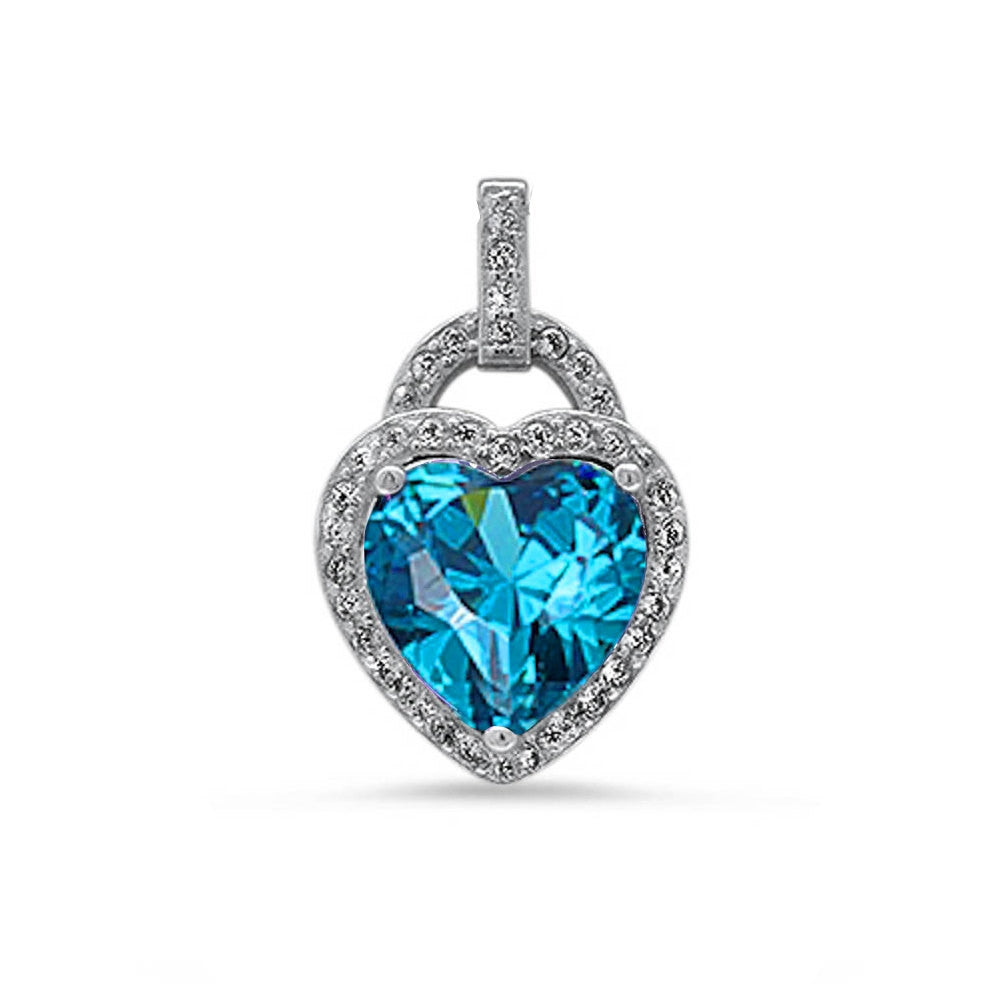 Fashion Halo Pendant Heart Pendant Solid 925 Sterling Silver Heart Shape Lovely Swiss Blue Topaz Round Clear CZ Accent Heart Pendant Gift - Blue Apple Jewelry
