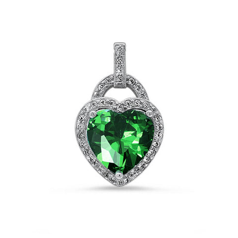 Fashion Halo Pendant Heart Pendant Solid 925 Sterling Silver Heart Shape Lovely Emerald Green Round Clear CZ Accent Heart Pendant May Gift - Blue Apple Jewelry