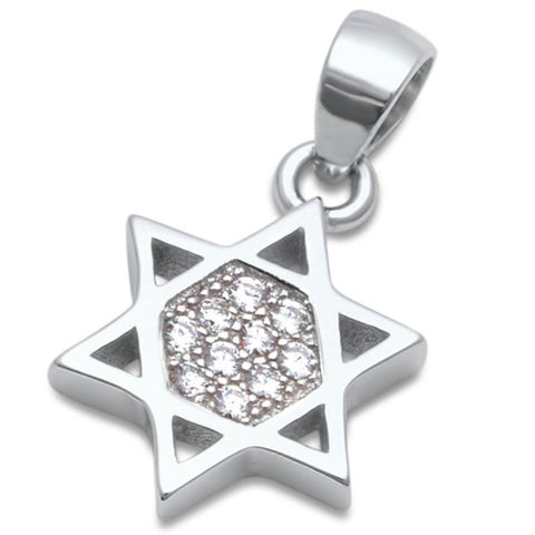 Jewish Star of David Pendant Solid 925 Sterling Silver With Mico Pave Clear Diamond CZ Judaism Charm perfect for Necklace Star of david