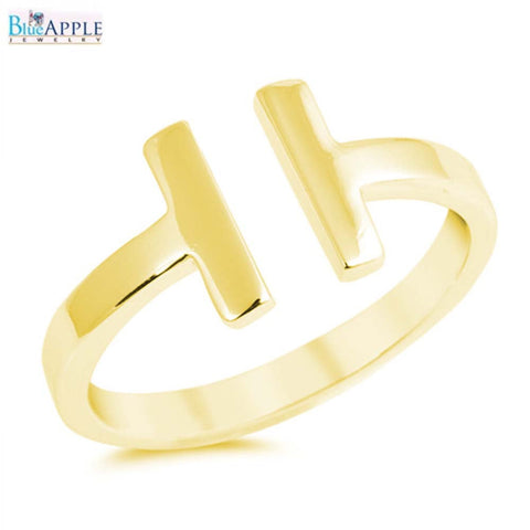 Bypass Double Sideways Bar Wire T Ring Yellow Gold 925 Sterling Silver Simple 9mm Plain Ring Band Fashion Gift Celebrity Inspired Jewelry - Blue Apple Jewelry