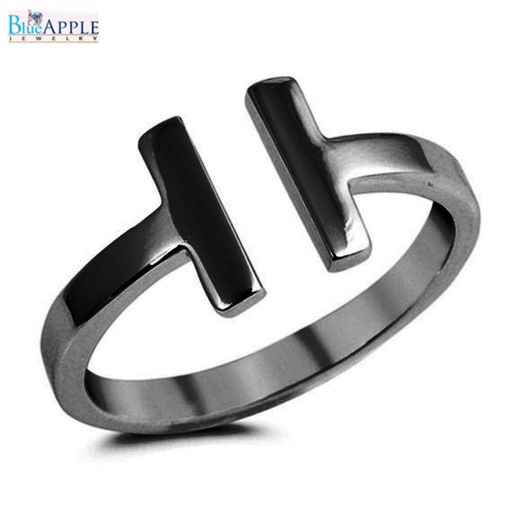 Bypass Double Sideways Bar Wire T Ring Black Gold 925 Sterling
