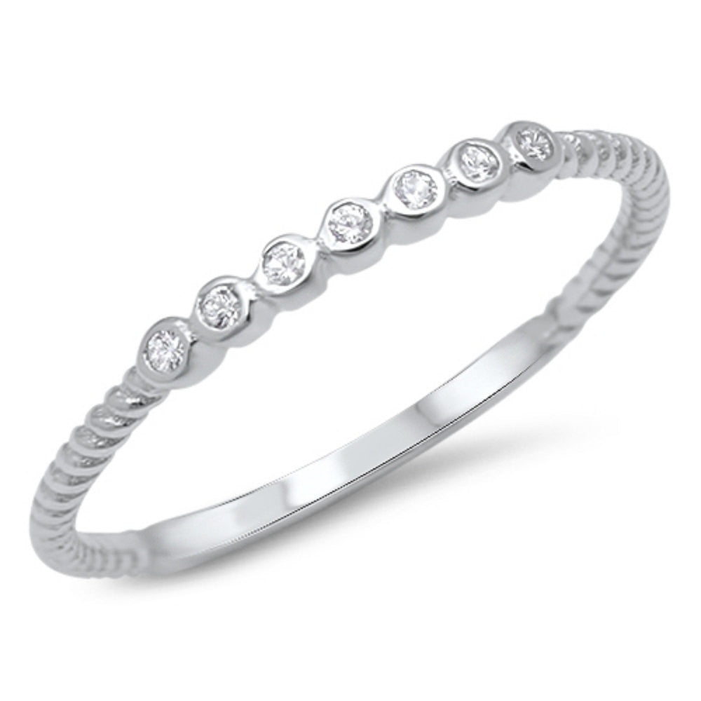 Blue Apple Co 2mm Half Eternity Wedding Band Art Deco Design Round Simulated Cubic Zirconia 925 Sterling Silver