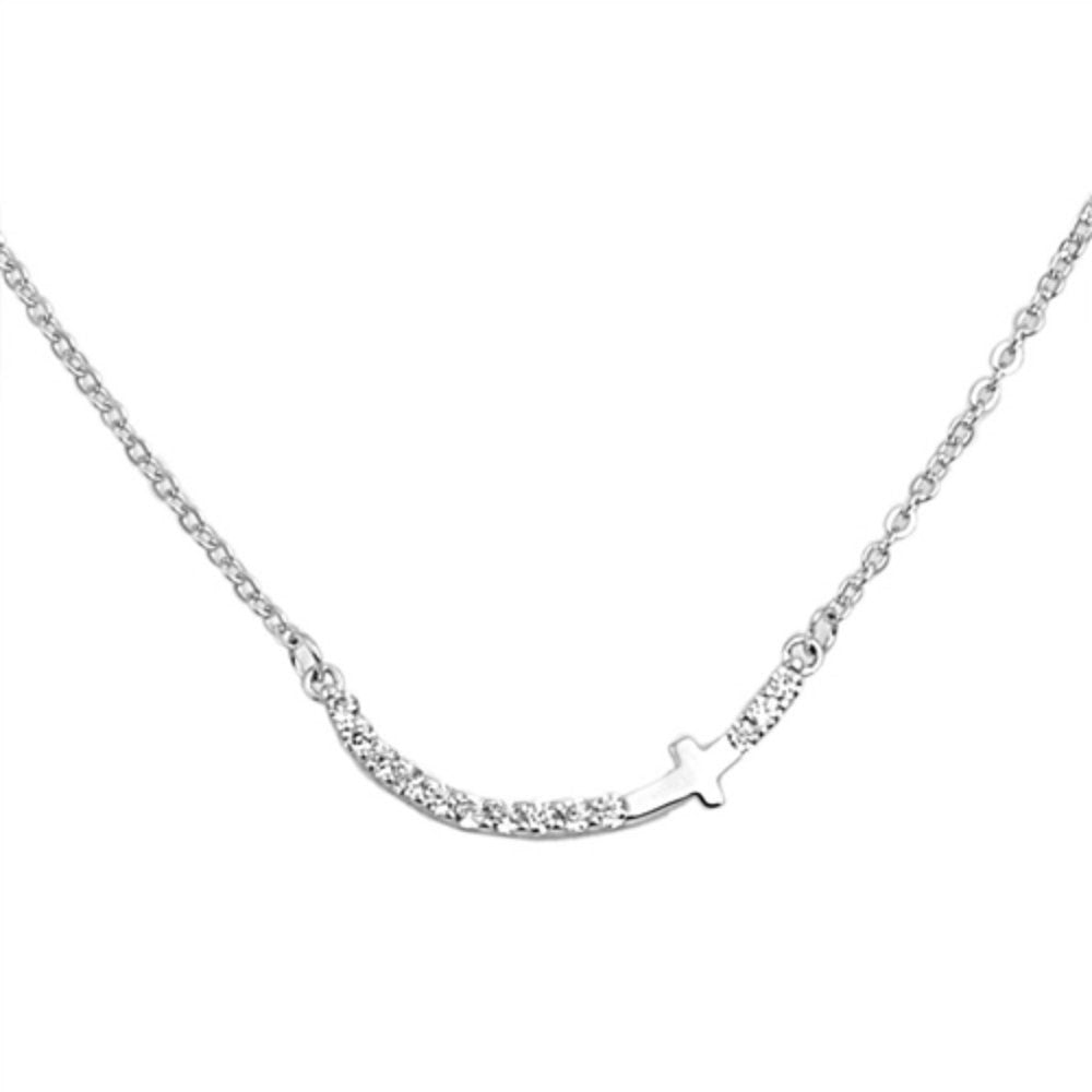 "16.5"" Sideways Cross Necklace Curved Bar Necklace Solid 925 Sterling Silver Round Diamond White CZ Curved Bar Sideways Cross Necklace - Blue Apple Jewelry"
