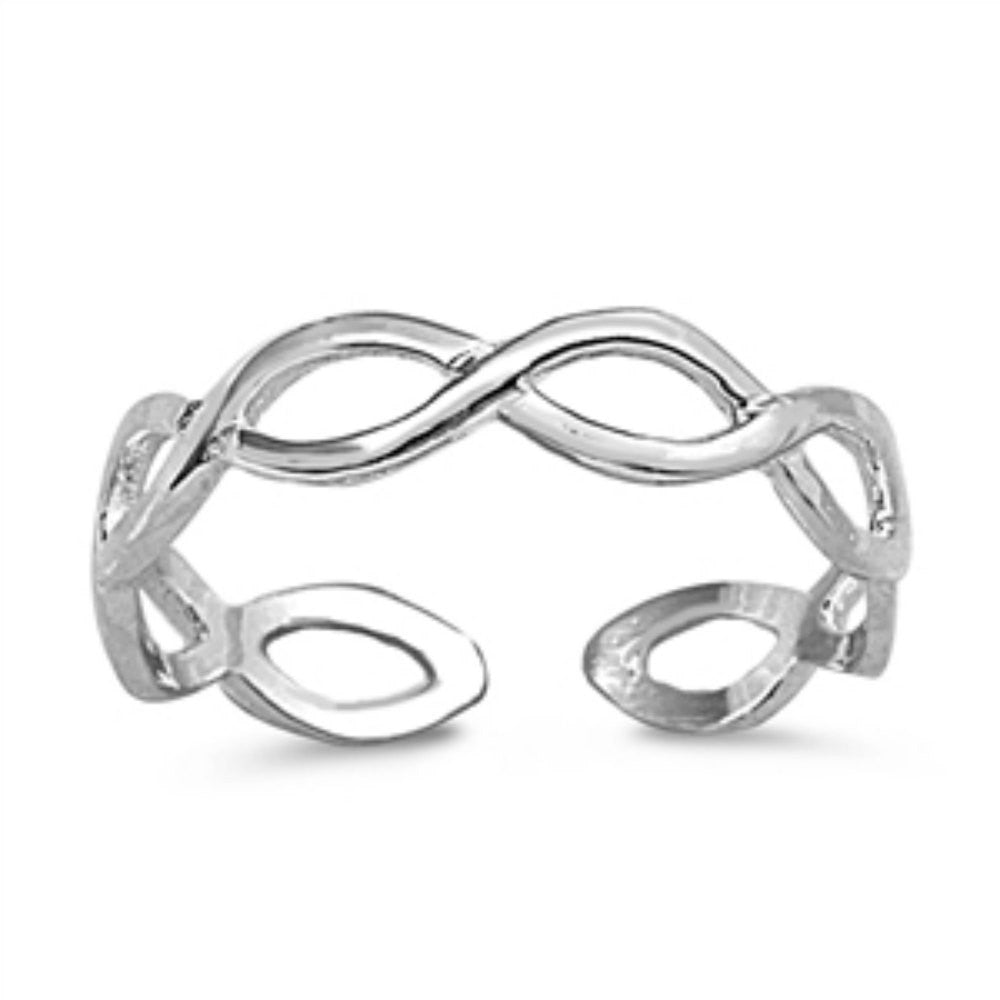 Silver Toe Ring Solid 925 Sterling Silver Braided Infinity Twisted 3mm Braided Twisted Toe Ring Braided Band