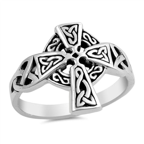 Celtic Cross Ring Solid 925 Sterling Silver Antique Finish Design Oxidized Cross Ring Christianity Catholicism Cross Jewelry Religious Gift - Blue Apple Jewelry