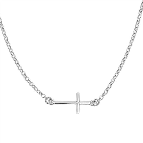 "17.5"" Rhodium 925 Sterling Silver Sideways Cross Necklace Pendant Plain Sideways Cross Pendant Attached Necklace - Blue Apple Jewelry"