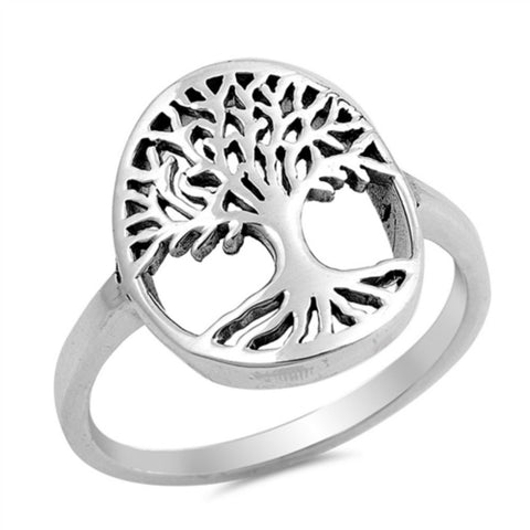 17mm Oval Oxidized Tree of Life Ring Solid 925 Sterling Silver Tree of Life Ring Spiritual Gift Tree of Life Jewelry - Blue Apple Jewelry