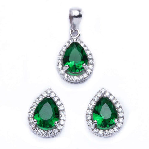 Halo Jewelry Set Halo Pendant Halo Stud Earrings Matching Set Teardrop Pear Shape Simulated Emerald Round Clear CZ 925 Sterling Silver - Blue Apple Jewelry
