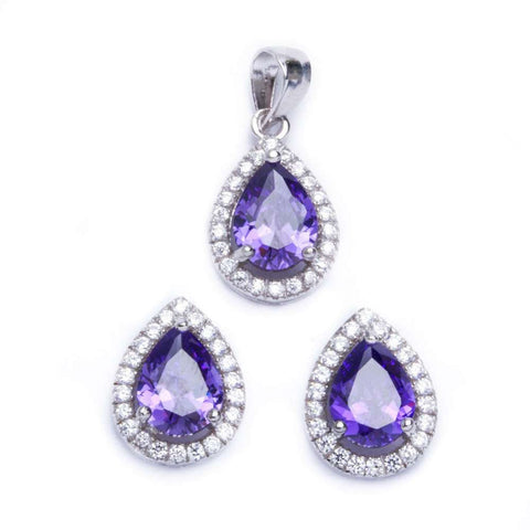 Halo Jewelry Set Halo Pendant Halo Stud Earrings Matching Set Teardrop Pear Shape Purple Amethyst CZ Round Clear CZ 925 Sterling Silver - Blue Apple Jewelry