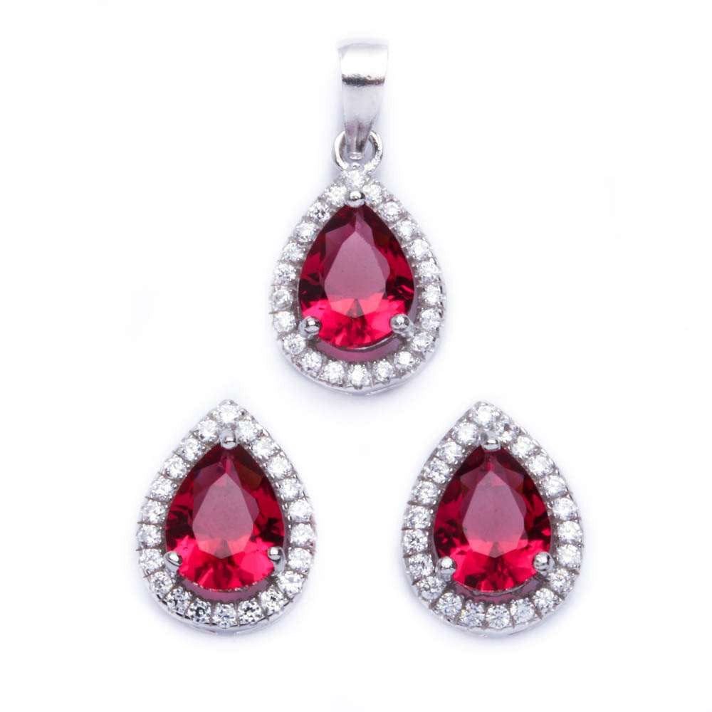 Halo Jewelry Set Halo Pendant Halo Stud Earrings Matching Set Teardrop Pear Shape Red Ruby CZ Round Clear CZ Solid 925 Sterling Silver - Blue Apple Jewelry