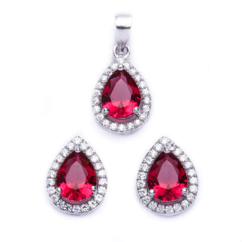 Halo Jewelry Set Halo Pendant Halo Stud Earrings Matching Set Teardrop Pear Shape Red Ruby CZ Round Clear CZ Solid 925 Sterling Silver