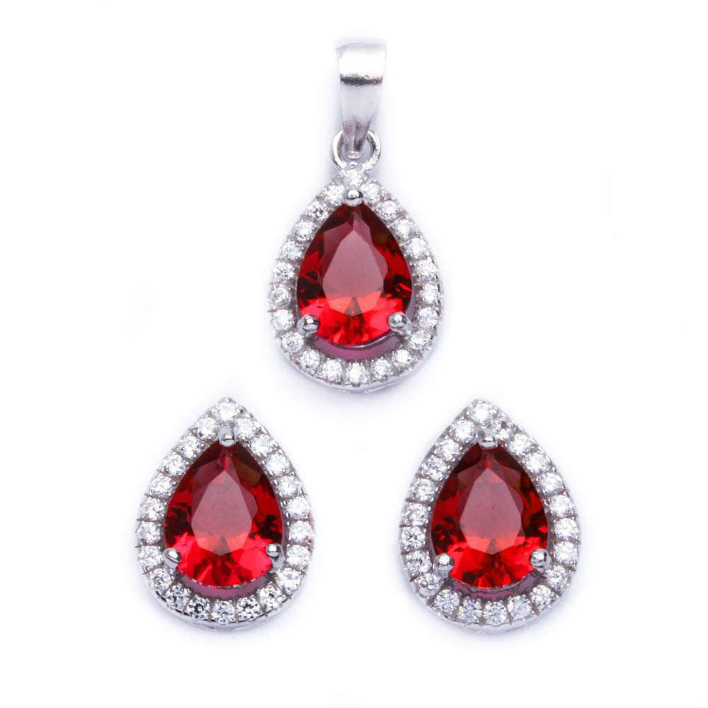 Halo Jewelry Set Halo Pendant Halo Stud Earrings Matching Set Teardrop Pear Deep Red Garnet CZ Round Clear CZ Solid 925 Sterling Silver - Blue Apple Jewelry