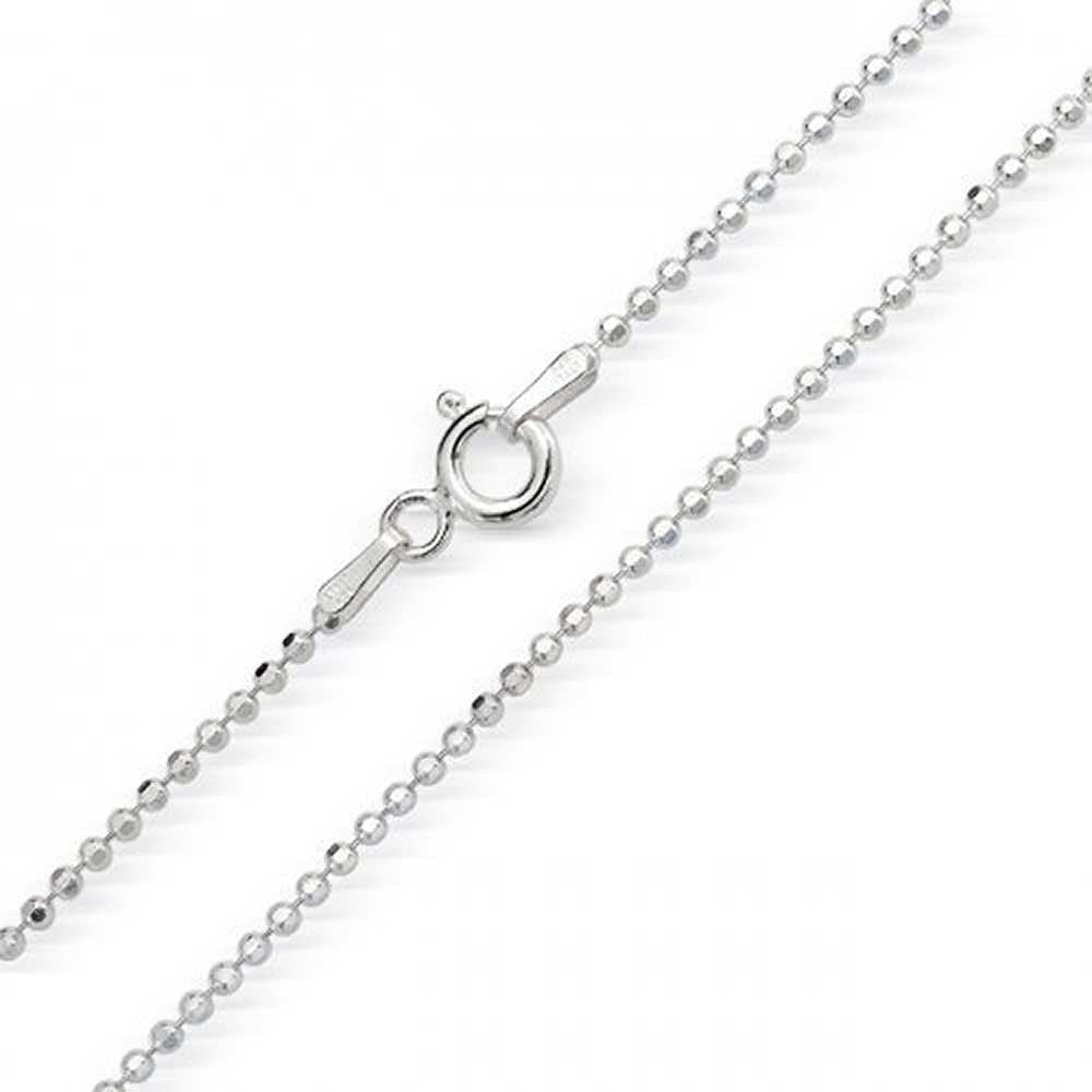 "Bead Chain Beaded Chain Beaded Necklace Solid 925 Sterling Silver Bead Chain 1.2mm  16"" 18"" 20"" 24"" 30"" - Blue Apple Jewelry"