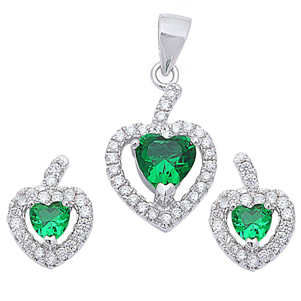 Halo Matching Set Halo Pendant Halo Stud Earrings Matching Set Heart Emerald Green Round Clear CZ Sterling Silver March Birthstone - Blue Apple Jewelry