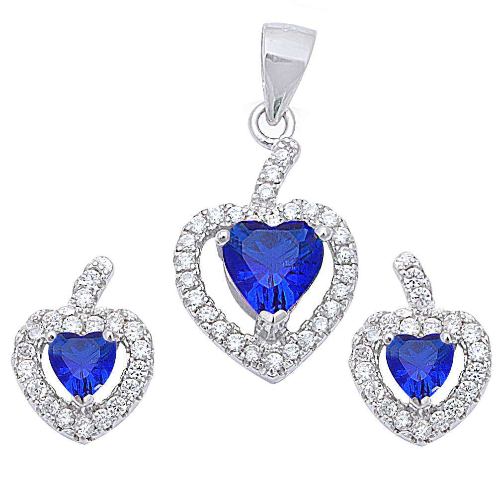Halo Matching Set Halo Pendant Halo Stud Earrings Matching Set Heart Simulated Tanzanite Round Clear CZ Sterling Silver - Blue Apple Jewelry