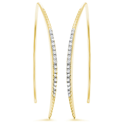 35mm Threader Hoop Earrings Yellow Gold Solid 925 Sterling Silver Micro Pave Round White Clear CZ Half Eternity Hoop Earring April Stone - Blue Apple Jewelry