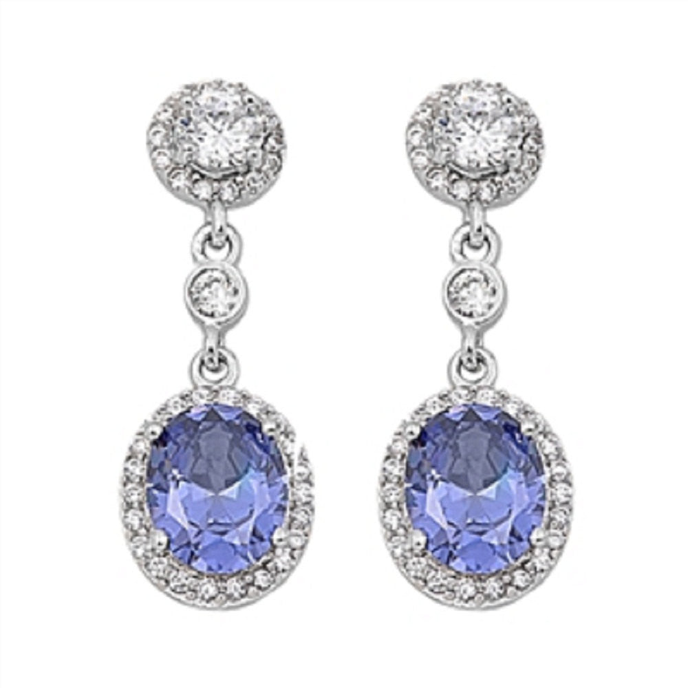 Dangle Earrings 925 Sterling Silver Round Oval Cut Tanzanite Halo Russian Iced Out Diamond CZ Drop Dangle Long Fancy Bridal Earrings Gift - Blue Apple Jewelry