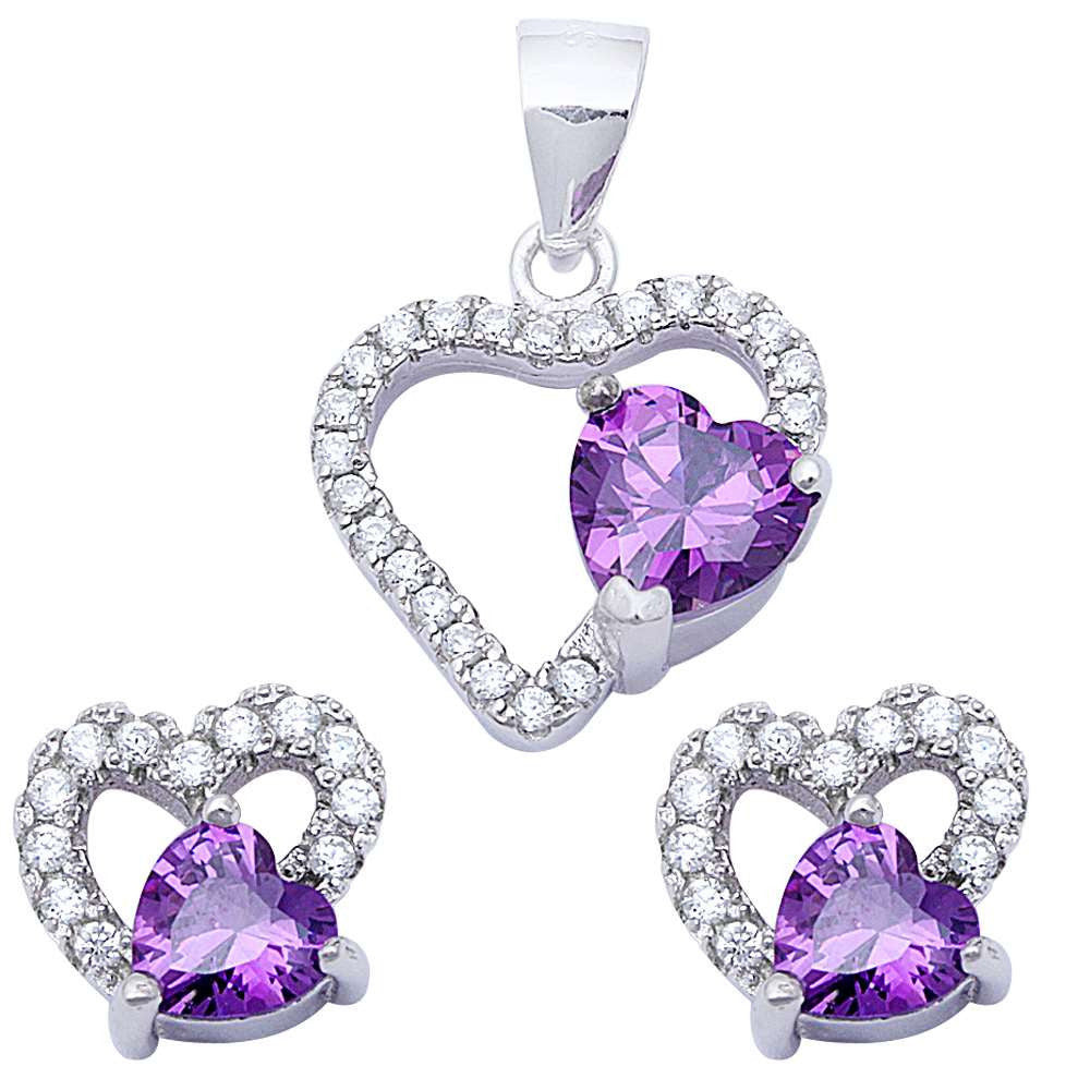 Pendant Stud Earrings Matching Set Heart Simulated Purple Amethyst CZ 925 Sterling Silver