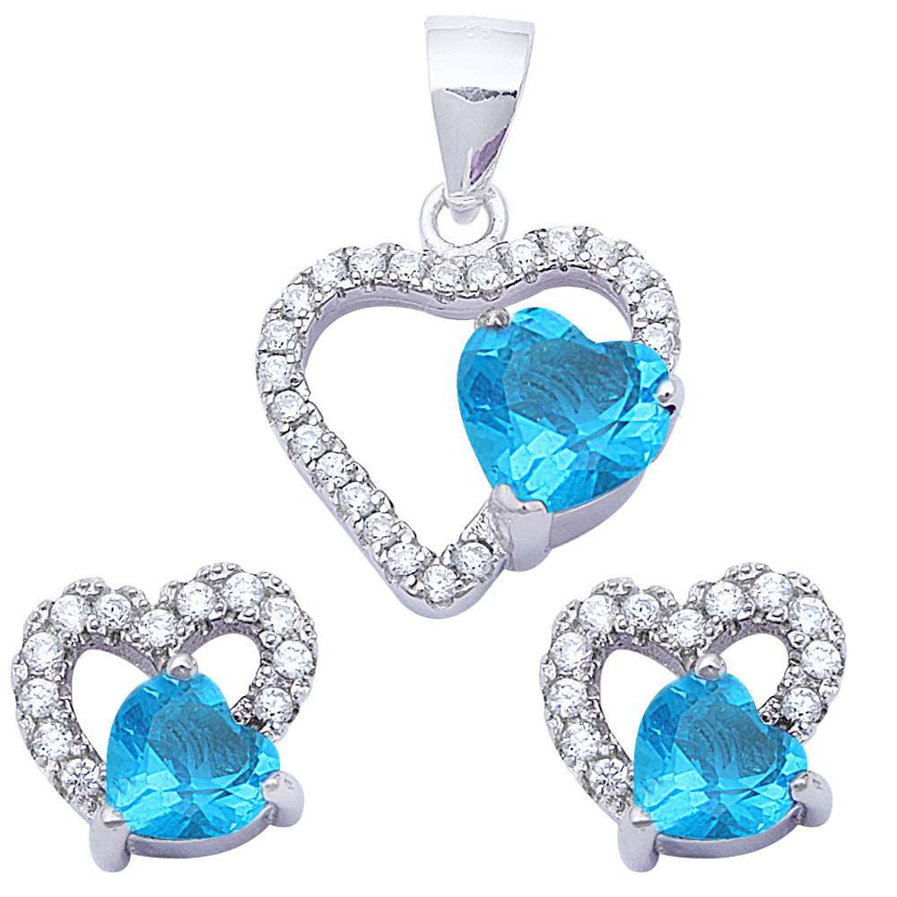 Halo Matching Set Halo Pendant Halo Stud Earring Matching Set Heart White CZ Swiss Topaz Blue Zircon Round Clear CZ 925 Sterling Silver Gift - Blue Apple Jewelry