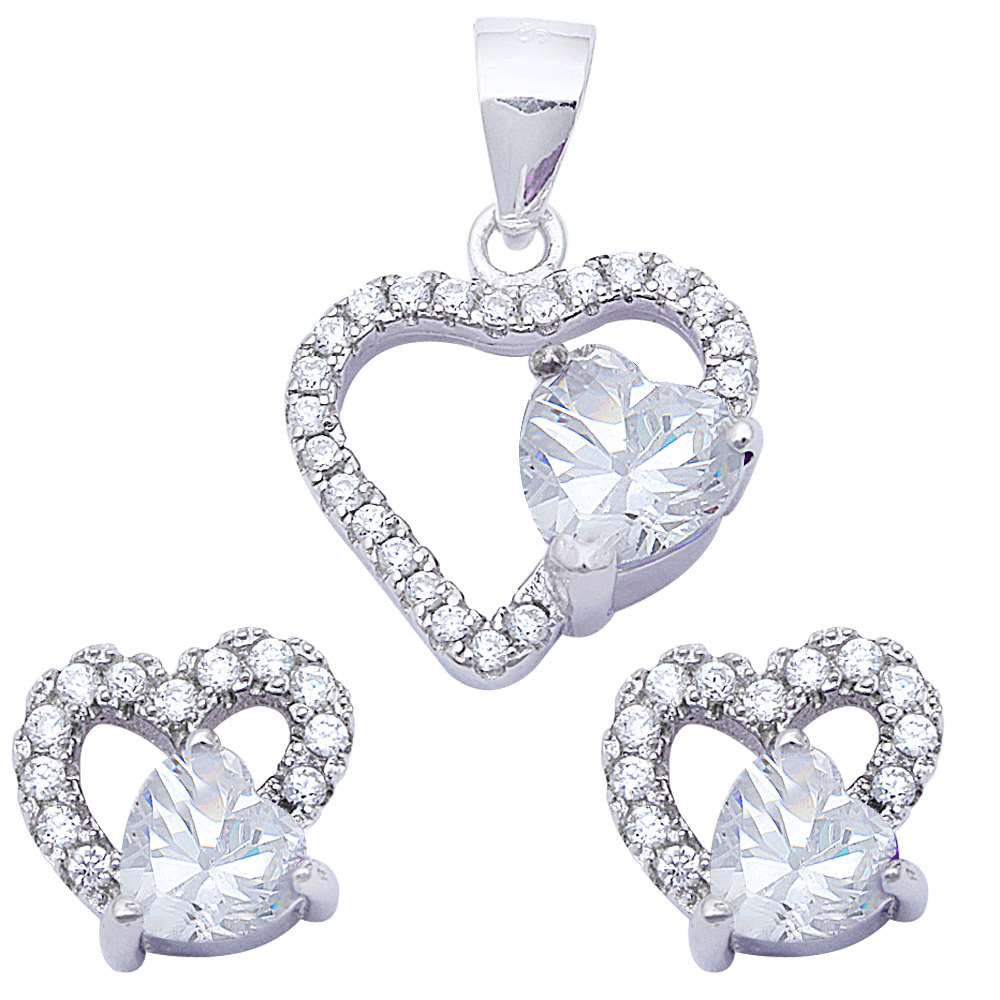 Halo Matching Set Halo Pendant Halo Stud Earring Matching Set Heart White CZ Round Clear CZ 925 Sterling Silver Gift - Blue Apple Jewelry