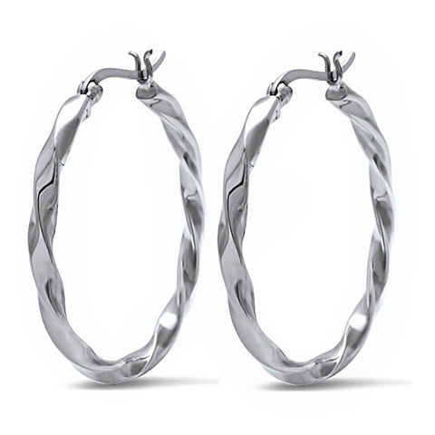 "37mm 1.5"" Long Twisted Hoop Earrings Solid 925 Sterling Silver Hoop - Blue Apple Jewelry"