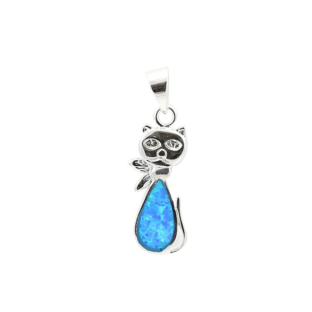 1 cat pendant lab blue opal inlay solid 925 sterling silver cat 1 cat pendant lab blue opal inlay solid 925 sterling silver cat charm cat jewelry aloadofball Images